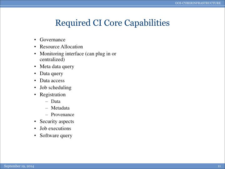 Required CI Core Capabilities