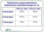 timel nnens og plovst rrelsens betydning for l nomkostningen pr ha