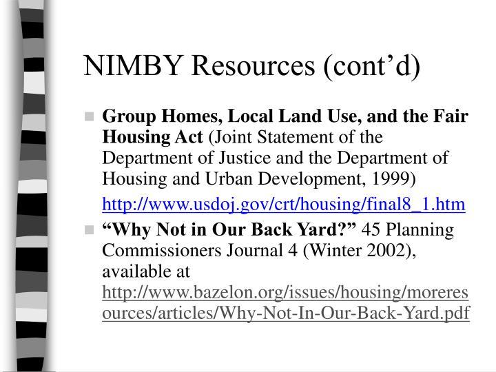 NIMBY Resources (cont'd)