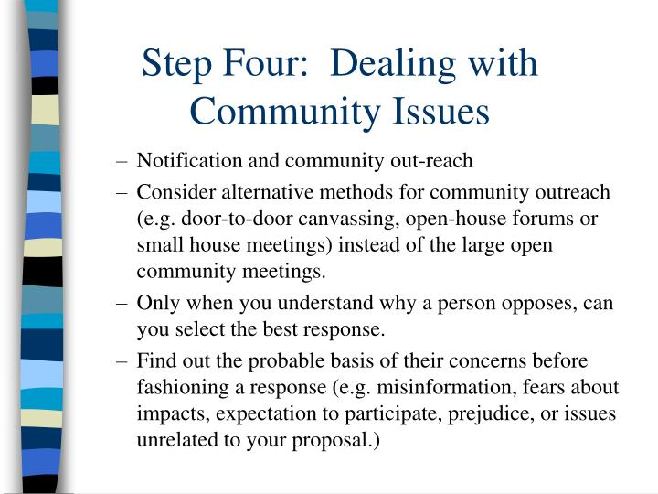 Step Four:  Dealing with Community Issues