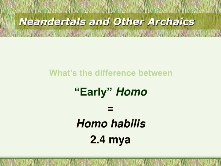 Neandertals and Other Archaics