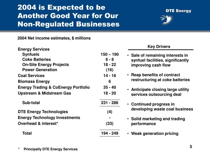 2004 is Expected to be          Another Good Year for Our                      Non-Regulated Businesses