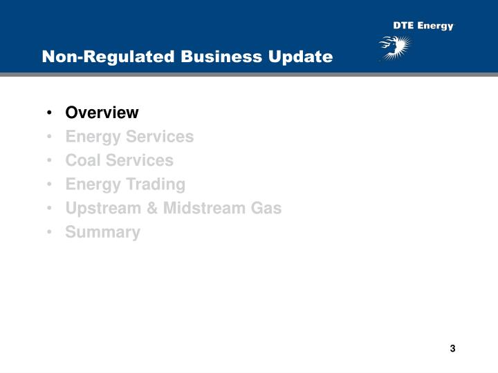 Non regulated business update