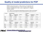 quality of model predictions for pop