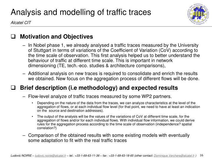 Analysis and modelling of traffic traces