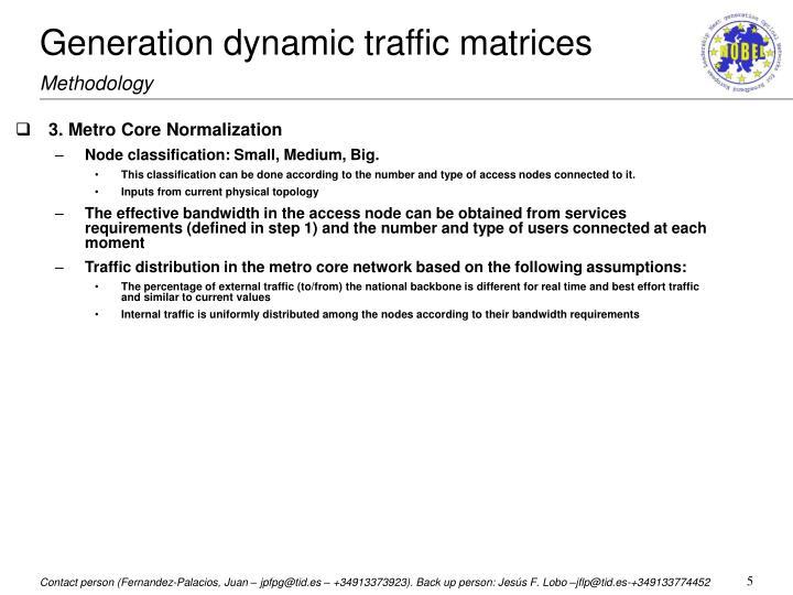 Generation dynamic traffic matrices