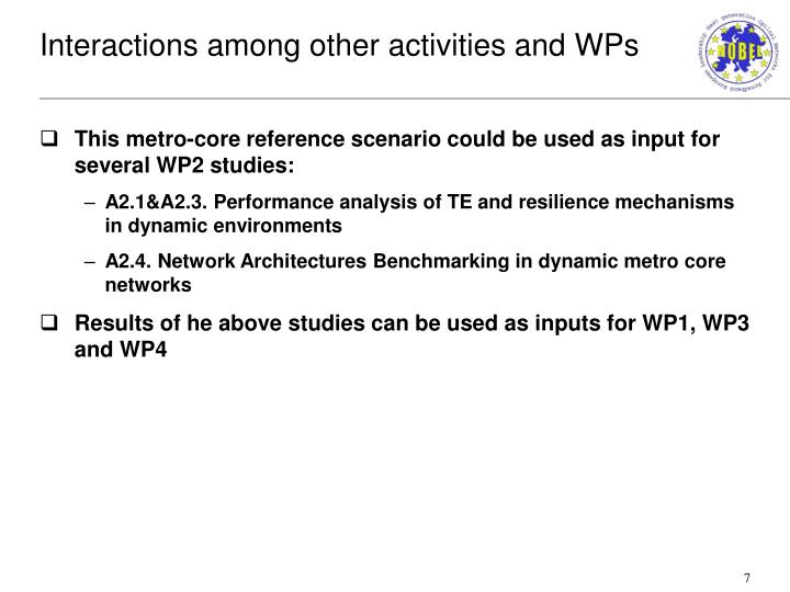 Interactions among other activities and WPs
