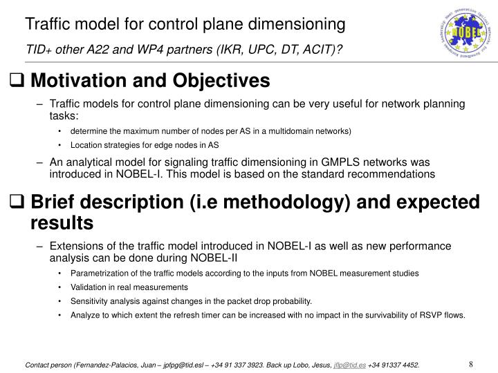 Traffic model for control plane dimensioning