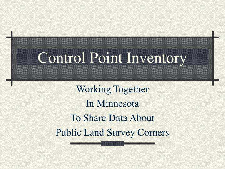 control point inventory n.