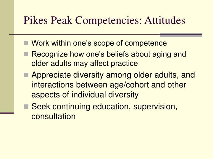 competencies Adult specific age