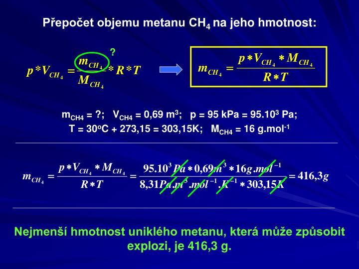 Přepočet objemu metanu CH