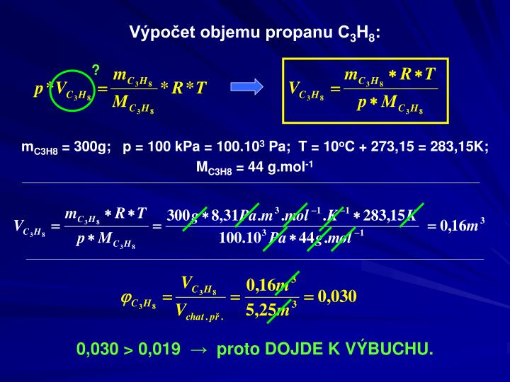 Výpočet objemu propanu C