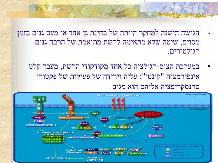 הגישה הישנה למחקר הייתה של בחינת גן אחד או מעט גנים בזמן מסוים, שיטה שלא מתאימה לרשת מתואמת של הרבה גנים רגולטורים.