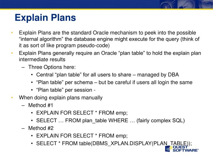 Explain Plans
