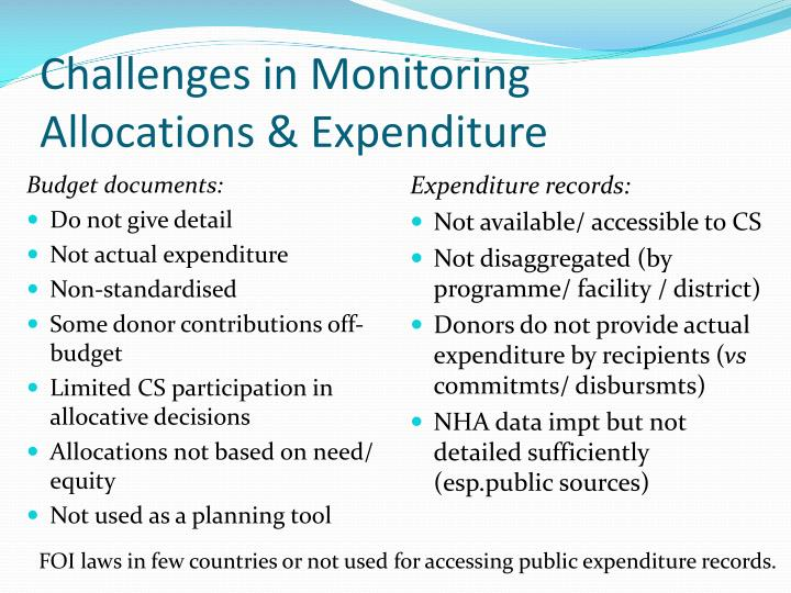 Challenges in Monitoring Allocations & Expenditure