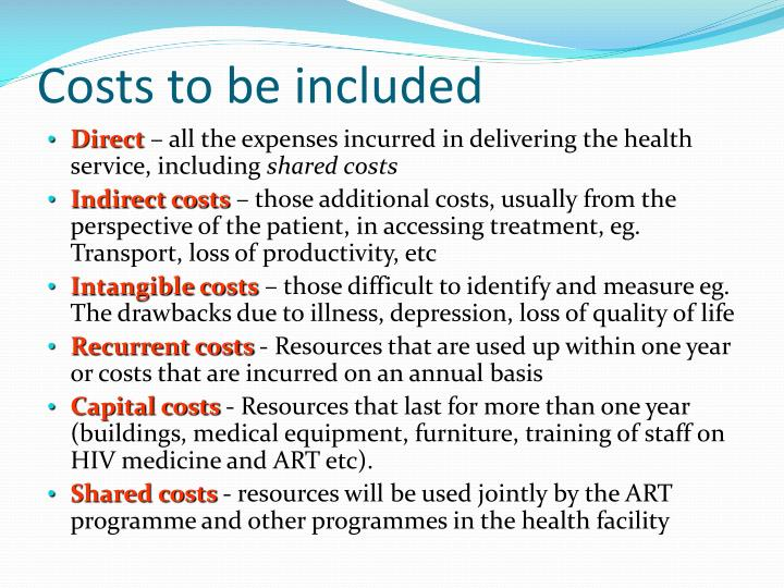 Costs to be included