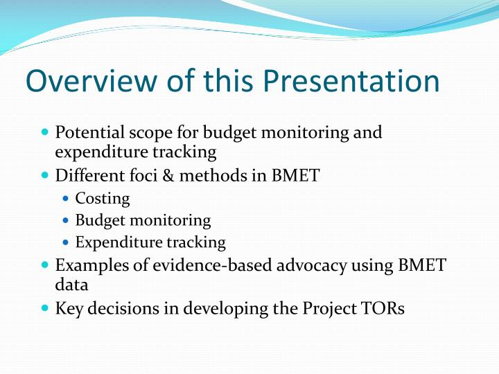 Overview of this presentation