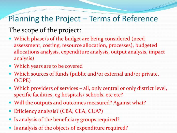 Planning the Project – Terms of Reference
