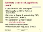 summary contents of application cont d