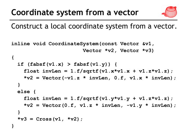 Coordinate system from a vector