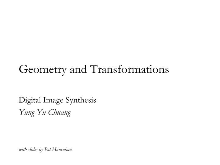 Geometry and transformations