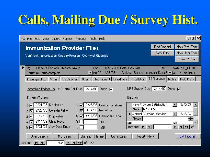 Calls, Mailing Due / Survey Hist.