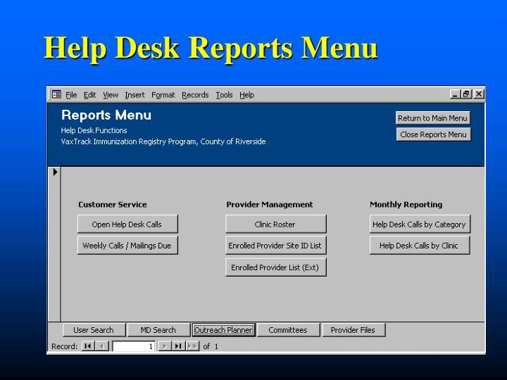 Help Desk Reports Menu