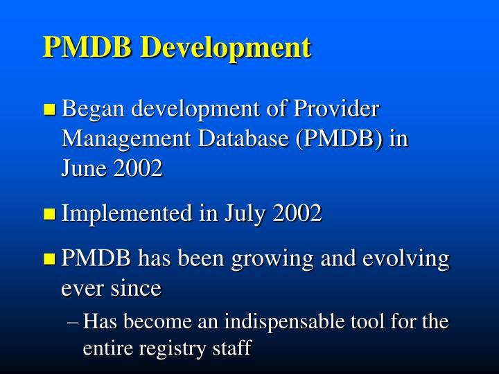 PMDB Development