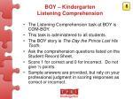 boy kindergarten listening comprehension
