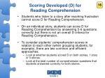 scoring developed d for reading comprehension