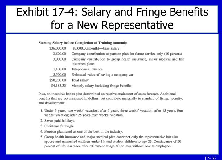 Exhibit 17-4: Salary and Fringe Benefits