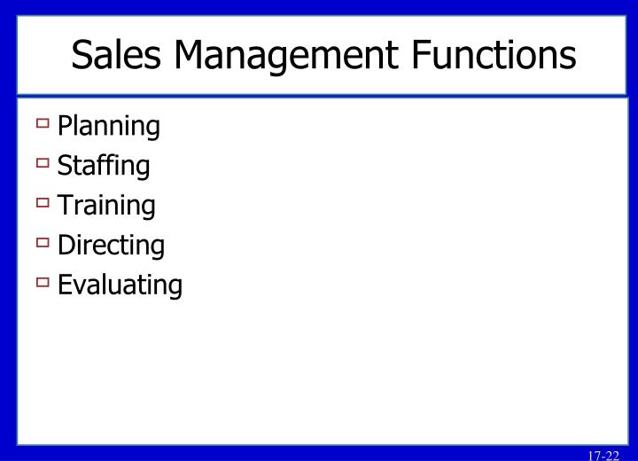 Sales Management Functions