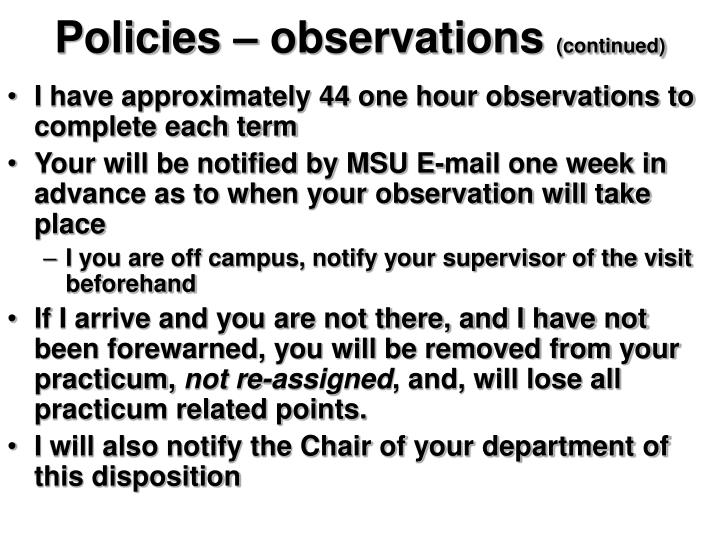 Policies – observations