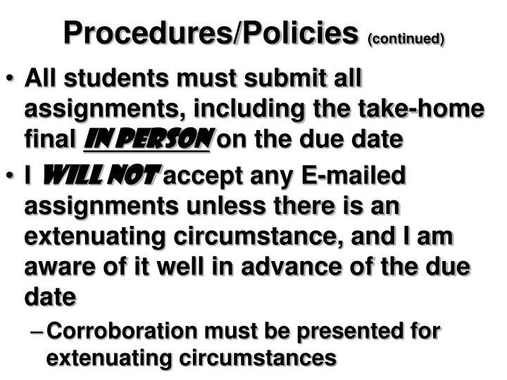 Procedures/Policies