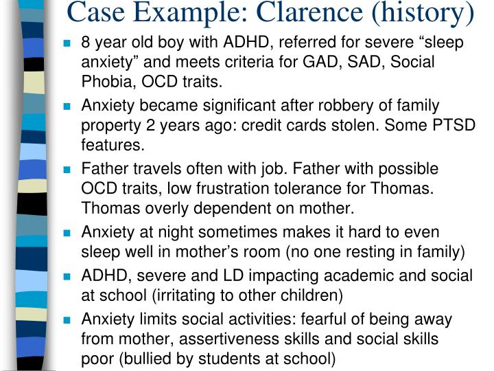 Case Example: Clarence (history)