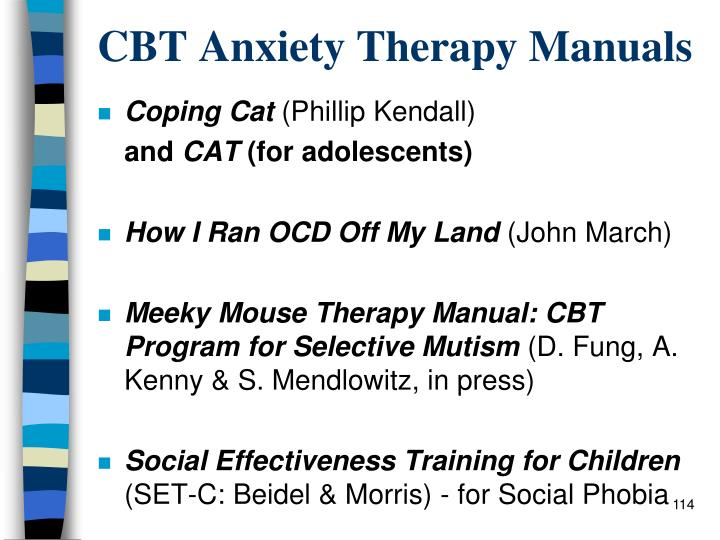 CBT Anxiety Therapy Manuals