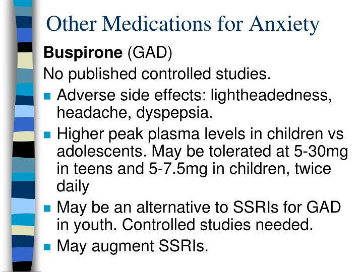 Other Medications for Anxiety