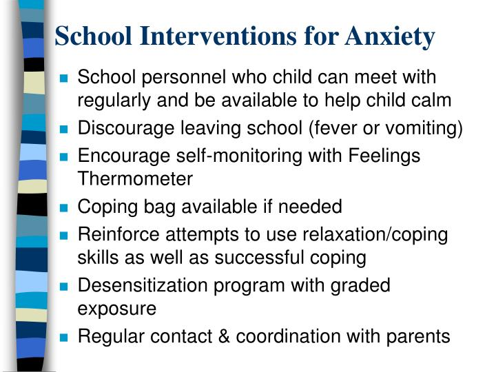 School Interventions for Anxiety
