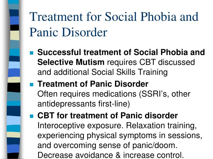 Treatment for Social Phobia and Panic Disorder