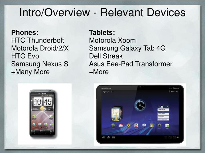 Intro/Overview - Relevant Devices