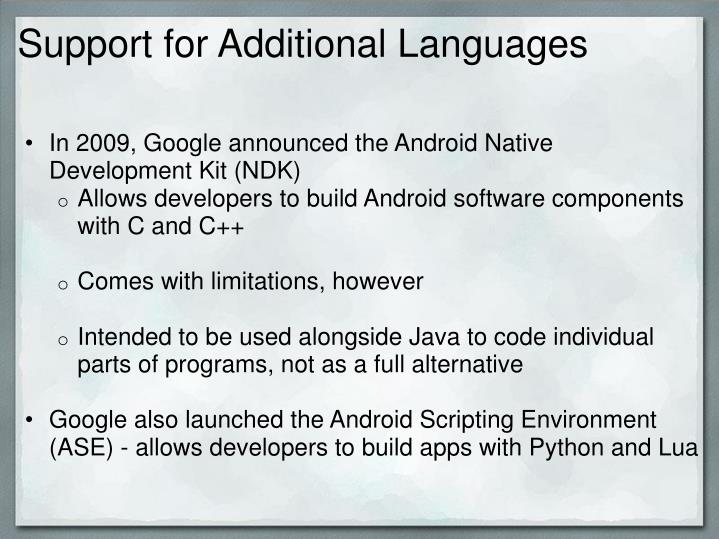 Support for Additional Languages