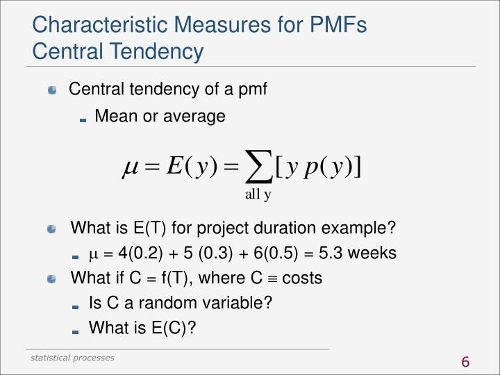 Characteristic Measures for PMFs