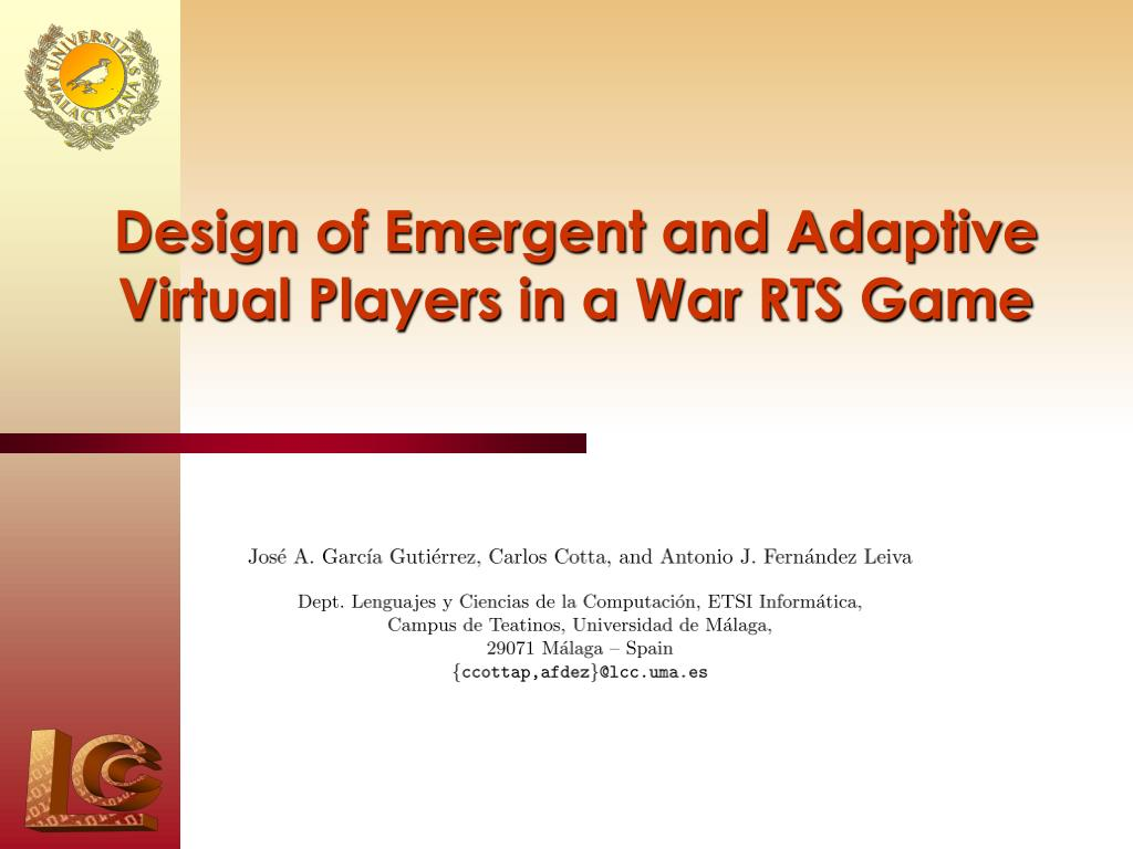 design of emergent and adaptive virtual players in a war rts game n.