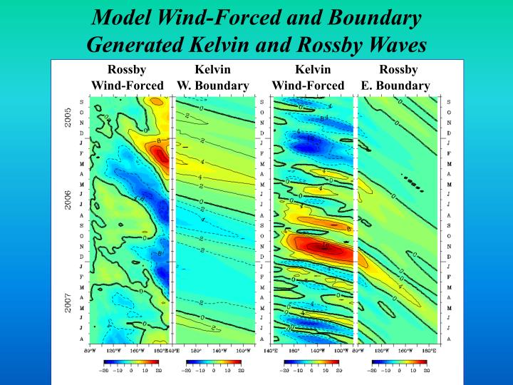 Model Wind-Forced and Boundary Generated Kelvin and Rossby Waves