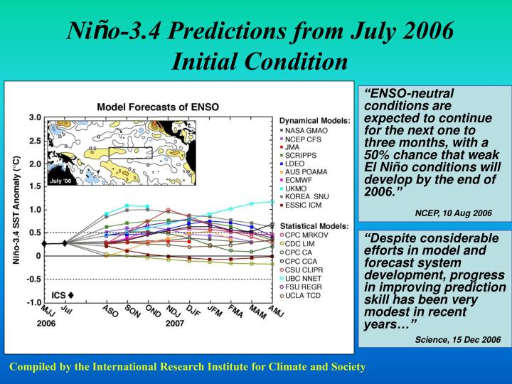 Ni o 3 4 predictions from july 2006 initial condition