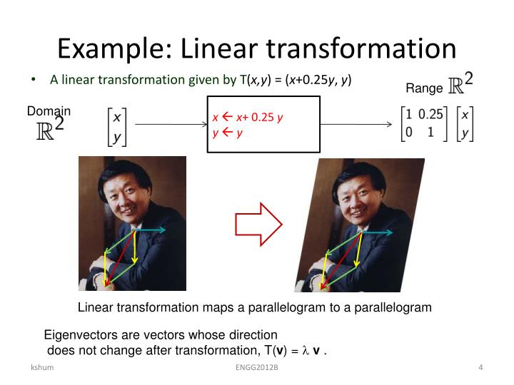 Example: Linear transformation