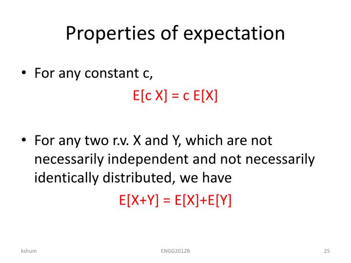 Properties of expectation