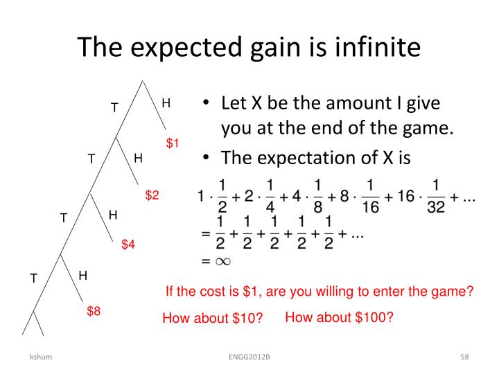 The expected gain is infinite