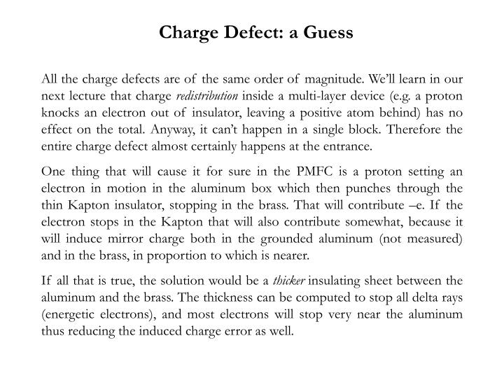 Charge Defect: a Guess