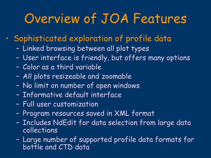 Overview of joa features1